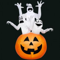 Gemmy 48.03 in. L x 43.31 in. W x 72.04 in. H Inflatable 3 Ghosts in Pumpkin Scene-71985X 300060736