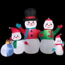 Gemmy 77.95 in. W x 40.16 in. D x 61.42 in. H Inflatable Snowman Family Scene-13326 207052562