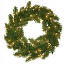 General Foam 24 in. Pre Lit Carolina Fir Artificial Wreath with Clear Lights-HD-24216C1 203321074