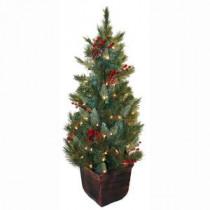 General Foam 4 ft. Pre-Lit Pine Artificial Christmas Tree with Berries and Pine Cones-HD-E149C1P 203321099