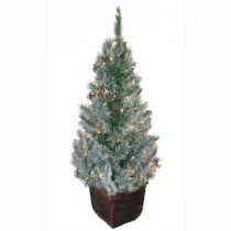 General Foam 4 ft. Pre-Lit Potted Frosted Pine Artificial Christmas Tree with Berries and Pine Cones-HD-E141C1F 203321107