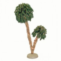 General Foam 6 ft. Pre-Lit Double Palm Artificial Christmas Trees with Clear Lights-HD-PT64C250 203321205
