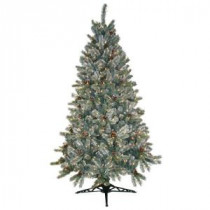 General Foam 6.5 ft. Pre-Lit Siberian Frosted Pine Artificial Christmas Tree with Clear Lights and Pine Cones-HD-92265C5 203321232