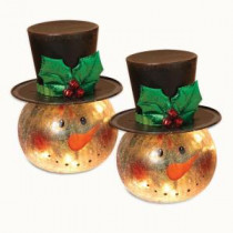 Gerson 8 in. H Electric Lighted Crackle Glass Snowman (Pack of 2)-2099880EC 300349648