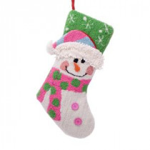 Glitzhome 19 in. Polyester/Acrylic Hooked 3D Snowman Christmas Stocking-JK25655PFSN 207053509