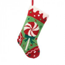 Glitzhome 19 in. Polyester/Acrylic Hooked Christmas Stocking with Candy-JK26187WA 207053507