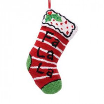 Glitzhome 19 in. Polyester/Acrylic Hooked Christmas Stocking with Fa La La-JK26177PFF 207053508
