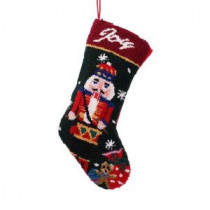 Glitzhome 19 in. Polyester/Acrylic Hooked Christmas Stocking with Nutcracker-JK17945A 207053500