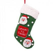 Glitzhome 19 in. Polyester/Acrylic Hooked Christmas Stocking with Santa Image-JK17133PF 207053485