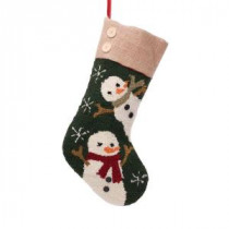 Glitzhome 19.3 in. Polyester/Acrylic Hooked Christmas Stocking with Snowmen Image-JK26178PFS 207053491