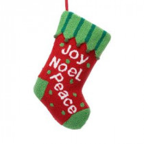 Glitzhome 19.5 in. Polyester/Acrylic Hooked Christmas Stocking with Joy Noel Peace-JK26176PFR 207053504