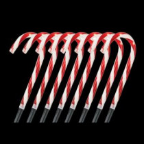 Home Accents Holiday 10 in. Pre-Lit Candy Cane Pathway Stakes (Set of 8)-TY166-1118 202534405