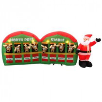 Home Accents Holiday 11 ft. Inflatable Santa with Reindeer in Stable-89984 205081088