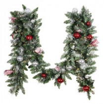 Home Accents Holiday 12 ft. Battery Operated Frosted Mercury Artificial Garland with 100 Clear LED Lights-BOWOTHD182A 205915380
