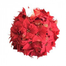 Home Accents Holiday 14.5 in. Dried Floral Wreath Red Glittered Poinsettia Kissing Ball-44682 207169025