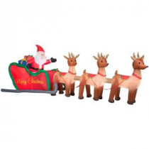 Home Accents Holiday 16 ft. W Inflatable Santa in Sleigh with Reindeers-36675 205919712