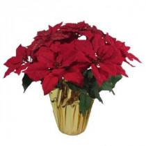 Home Accents Holiday 21 in. Red Glittered Silk Poinsettia Arrangement (Case of 6)-03X0190R14-RED 206949825