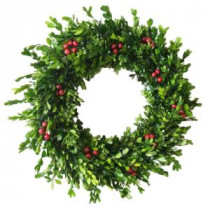 Home Accents Holiday 22 in. Boxwood Dried Wreath with Berries-A0115-221 206944945