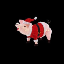 Home Accents Holiday 23.5 in. LED Lighted Pink Pig in Santa Coat and Hat-TY426-1314 206954253