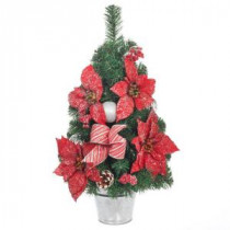 Home Accents Holiday 24 in. H Icy Red Poinsettia Pine Tree with Metal Base-2323350HD 206954396