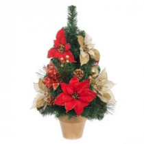 Home Accents Holiday 24 in. H Red and Gold Poinsettia Tree in Gold Pot-2323310HD 206954299