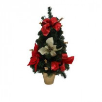 Home Accents Holiday 24 in. Unlit Artificial Red Poinsettia Tree-JFF001T 205919308