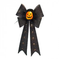 Home Accents Holiday 26 in. Battery-Operated Black Bow with Pumpkin-TYY615-1625 206762212