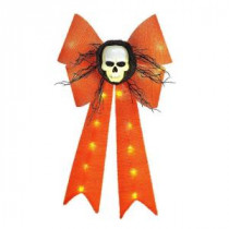 Home Accents Holiday 26 in. Battery-Operated Orange Bow with Skull-TYY616-1625 206762210