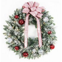 Home Accents Holiday 30 in. Battery Operated Frosted Mercury Artificial Wreath with 50 Clear LED Lights-BOWOTHD182 205915384