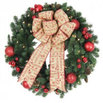 Home Accents Holiday 30 in. Battery Operated Holiday Burlap Artificial Wreath with 50 Clear LED Lights-BOWOTHD153C 205915382
