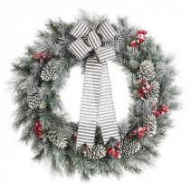 Home Accents Holiday 30 in. Snowy Pine Artificial Wreath with Pinecones and Berries-2314620HD 206768340