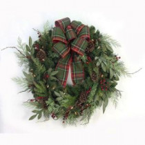 Home Accents Holiday 32 in. Pre-Lit Woodland Tales Artificial Christmas Wreath with Plaid Ribbon, 50 Battery-Operated Warm White LED-CHZH3811602THD 206771197