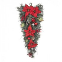 Home Accents Holiday 32 in. Red Poinsettia Twig Pine Teardrop with Red and Silver Balls-2321760HD 206772859