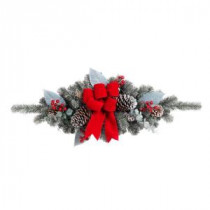 Home Accents Holiday 32 in. Snowy Pine Swag with Pinecones Berries and Red Velvet Bow-2321060HD 206771255