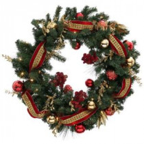 Home Accents Holiday 36 in. Battery Operated Plaza Artificial Wreath with 50 Clear LED Lights-BOWOTHD173C 205915402