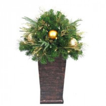 Home Accents Holiday 36 in. Valenzia Artificial Topiary with Resin Pot and 50 Battery-Operated LED Lights-BOWOTHD1605THD 206771214