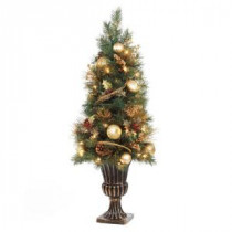 Home Accents Holiday 4 ft. Gold Artificial Christmas Porch Tree with 50 UL Clear Twinkle Lights-2320530HD-T 206768349