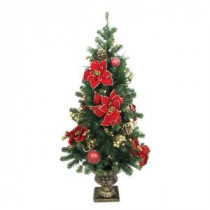 Home Accents Holiday 4 ft. Poinsettia Potted Artificial Christmas Tree with 50 Clear Lights-BOWOTHD160B 205915390