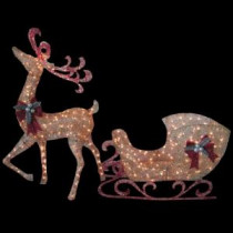 Home Accents Holiday 5 ft. Gold Reindeer with 44 in. Sleigh-TY374+375-1411 205152648