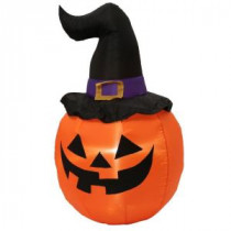 Home Accents Holiday 5 ft. H Inflatable Outdoor Pumpkin with Witch Hat-58758 205832724