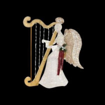 Home Accents Holiday 55 in. LED Lighted White PVC Sitting Angel with Harp-TY236-1611-4 206963268