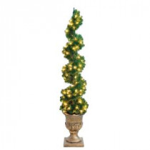 Home Accents Holiday 6 ft. Christmas Spiral Potted Artificial Tree with 150 Clear Lights-W-SPR-60TP 205928450