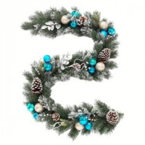 Home Accents Holiday 6 ft. Flocked Pine Garland with Blue Plate and Silver Balls-2321680HD 206771265