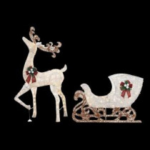 Home Accents Holiday 60 in. LED Lighted Standing Deer with 44 in. LED Lighted Acrylic Sleigh-TY311+310-1411 206954183