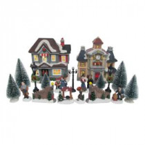 Home Accents Holiday 6.1 in. H Lighted School Village Set (20-Piece)-D16002C 207002463