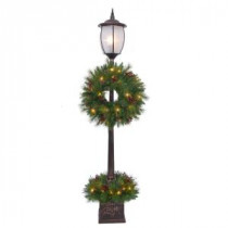 Home Accents Holiday 7 ft. Pre-Lit Lantern Post Artificial Tree with Berry, Pinecone and Twig-16HD0121 206768359