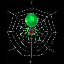 Home Accents Holiday 72 in. W x 72 in. D x 21.26 in. H Inflatable Green Spider with Web-71530 206762577