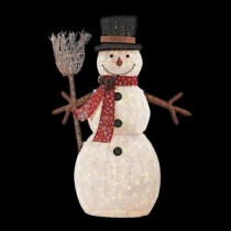 Home Accents Holiday 72 in. LED Lighted PVC Cotton String Snowman with Broom-TY136-1614 206954417
