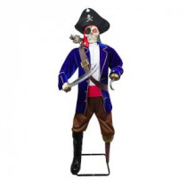 Home Accents Holiday 72 in. Skeleton Pirate with Talking Zombie Parrot-6330-72242 206770907