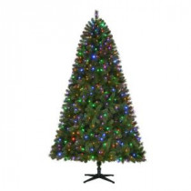Home Accents Holiday 7.5 ft. Pre-Lit LED Wesley Spruce Quick-Set Artificial Christmas Tree with Color Changing Lights-TG76M3W89D01 206770992